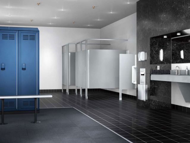 bathroom partitions hand dryers paper towel dispensers - Commercial Bathroom Partitions